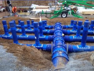 Blueduct installation fast and east AQC underground duct